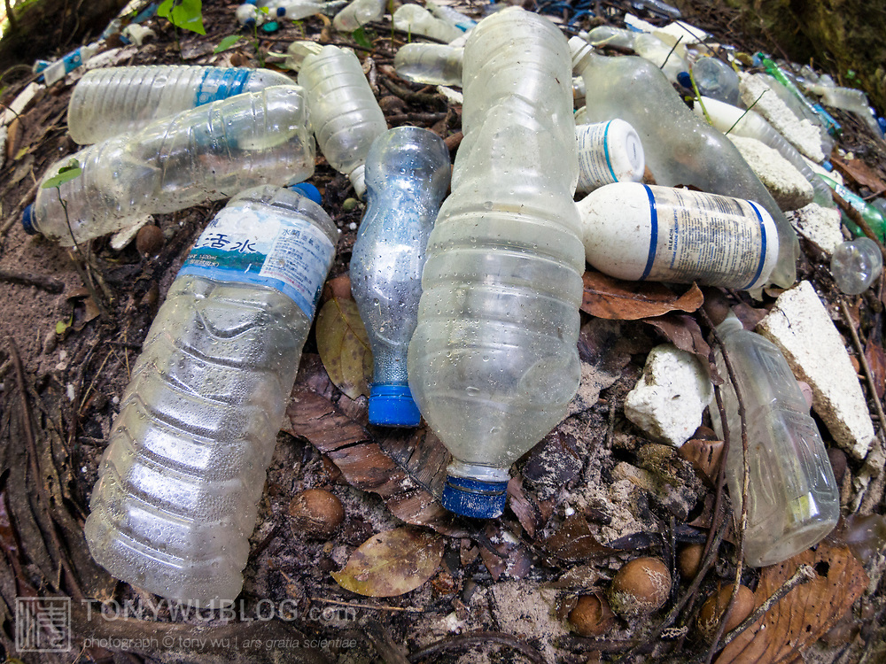 Plastic garbage accumulated on one of the Rock Islands of Palau, a major tourism destination