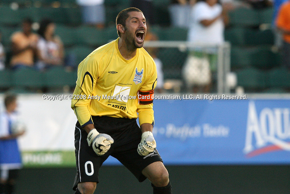 01 July 2008: Carolina's Chris McClellan reacts after a Carolina goal. Major League Soccer's Kansas City Wizards defeated The United Soccer Leagues Division 1 Carolina Railhawks 4-2 after overtime at WakeMed Stadium in Cary, NC in a third round game in the 2008 Lamar Hunt U.S. Open Cup.