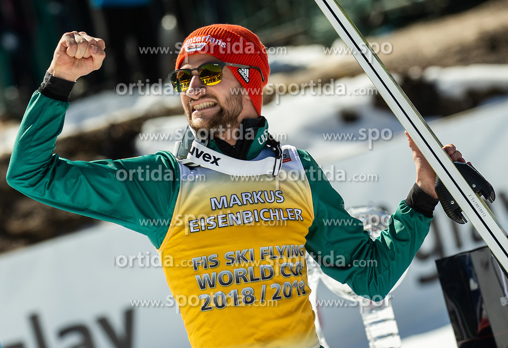 Markus Eisenbichler (GER) celebrates at trophy ceremony as second placed in FIS Ski Flying 2018/19 Classification after the Ski Flying Hill Individual Competition at Day 4 of FIS Ski Jumping World Cup Final 2019, on March 24, 2019 in Planica, Slovenia. Photo by Vid Ponikvar / Sportida