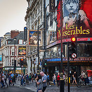 Commercial theatres pack the Soho theatre district in London, United Kingdom.