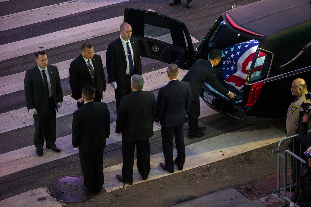 The casket of San Francisco Mayor Ed Lee is carried into City Hall on Friday, Dec. 15, 2017, in San Francisco, Calif. Mayor Ed Lee was lain in state at the rotunda of City Hall. Lee died on Tuesday from a heart attack. He was 65 years old.