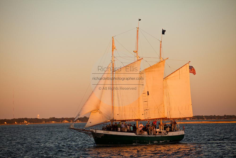 Schooner Pride sunset cruise of the harbor in Charleston, SC.