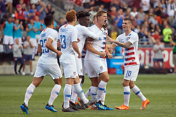 May 28, 2018 - Chester, PA, U.S. - CHESTER, PA - MAY 28: United States defender Walker Zimmerman (4) celebrates with United States midfielder Christian Pulisic (10) and teammates after scoring a goal in the first half of the international friendly match between the United States and Bolivia at the Talen Energy Stadium on May 28, 2018 in Chester, Pennsylvania. (Photo by Robin Alam/Icon Sportswire) (Credit Image: © Robin Alam/Icon SMI via ZUMA Press)