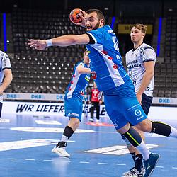 Zharko Pesevski (TVB Stuttgart #44) ; LIQUI MOLY HBL / 1. Handball-Bundesliga: TVB Stuttgart - SG Flensburg-Handewitt am 09.06.2021 in Stuttgart (PORSCHE Arena), Baden-Wuerttemberg, Deutschland<br /> <br /> Foto © PIX-Sportfotos *** Foto ist honorarpflichtig! *** Auf Anfrage in hoeherer Qualitaet/Aufloesung. Belegexemplar erbeten. Veroeffentlichung ausschliesslich fuer journalistisch-publizistische Zwecke. For editorial use only.