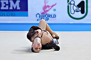 Alina Maksimenko during qualifying at ball in the Pesaro World Cup at the Adriatic Arena in Pesaro, Italy on 26 April 2013.<br /> Alina is an Ukrainian individual rhythmic gymnast. She was born July 10, 1991 in Zaporizhia, Ukraine.