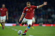 Frederic Michalak of Franch takes a penalty kick to score. Rugby World Cup 2015 pool D match, France v Italy at Twickenham Stadium in London on Saturday 19th September 2015.<br /> pic by John Patrick Fletcher, Andrew Orchard sports photography.