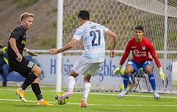 Elijah Just (FC Helsingør) er tæt på at score igen under kampen i 1. Division mellem FC Helsingør og Vendsyssel FF den 18. september 2020 på Helsingør Stadion (Foto: Claus Birch).