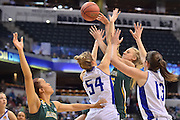 April 4, 2016; Indianapolis, Ind.; Alysha Devine tries to get a pass in to Megan Mullings in the NCAA Division II Women's Basketball National Championship game at Bankers Life Fieldhouse between UAA and Lubbock Christian. The Seawolves lost to the Lady Chaps 78-73.