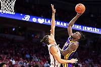 FAYETTEVILLE, AR - MARCH 4:  Emmitt Williams #5 of the LSU Tigers drives to the middle for a shot against Ethan Henderson #24 of the Arkansas Razorbacks at Bud Walton Arena on March 4, 2020 in Fayetteville, Arkansas.  The Razorbacks defeated the Tigers 99-90.  (Photo by Wesley Hitt/Getty Images) *** Local Caption *** Emmitt Williams; Ethan Henderson