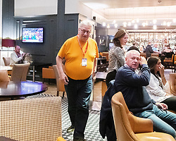 © Licensed to London News Pictures . 20/09/2019. Brighton, UK. Momentum founder JON LANSMAN is seen in the Hilton Brighton Metropole Hotel , which hosts a number of Labour fringe events , after a meeting of the National Executive Committee this evening (Friday 20th September 2019). The Momentum founder proposed a motion to scrap the post of Deputy Leader at the meeting . The Deputy Leader's post is currently occupied by Tom Watson . Lansman cited Watson's disloyalty over Brexit as motive for the motion . The 2019 Labour Party Conference from the Brighton Centre . Photo credit: London News Pictures