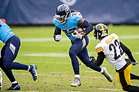 NASHVILLE, TN - OCTOBER 25:  Derrick Henry #22 of the Tennessee Titans runs the ball during a game against the Pittsburgh Steelers at Nissan Stadium on October 25, 2020 in Nashville, Tennessee.  The Steelers defeated the Titans 27-24.  (Photo by Wesley Hitt/Getty Images) *** Local Caption *** Derrick Henry