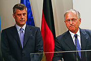 Kosovo's Prime Minister Hashim Thaçi (L) and EU envoy for Kosovo Wolfgang Ischinger (R) speaks to media during a press conference in Pristina on Sunday, June 14, 2009. The three members of the so-called 'troika' arrived in Pristina trying to break the deadlock over Kosovo, whose leaders want full independence. Serbia and its ally Russia, a veto-wielding permanent member of the U.N. Security Council, oppose independence. Kosovo has been under U.N. and NATO administration since a 78-day NATO-led air war halted a Serb crackdown on ethnic Albanian separatists in 1999.  (Photo/ Vudi Xhymshiti)