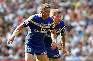 A battle scarred Kurt Gidley and Daryl Clark during the Challenge Cup Final 2016 match between Warrington Wolves and Hull FC at Wembley Stadium, London, England on 27 August 2016. Photo by Craig Galloway.