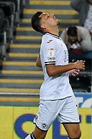 Football - 2021 / 2022  EFL Sky Bet Championship - Swansea City vs Millwall - Liberty Stadium - Wednesday 15th September 2021<br /> <br /> Joel Piroe Swansea City looks frustrated after his shot is saved by Bartosz Bialkowski Millwall<br /> <br /> COLORSPORT/WINSTON BYNORTH