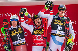 2nd. Henrik Kristoffersen, winner Marcel Hirscher and the 3rd. Ramon Zenhaeusern during the flower ceremony Men's Slalom race of FIS Alpine Ski World Cup 57th Vitranc Cup 2018, on March 4, 2018 in Kranjska Gora, Slovenia. Photo by Urban Meglič / Sportida