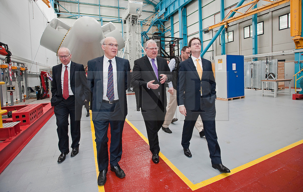 RE-ISSUE NOTE THIS IS A TODAY PICTURE © London News Pictures. 10/03/2012.  Newcastle, UK. Liberal Democrat leader NICK CLEGG (far right) and Business Secretary VINCE CABLE (second left) on a tour of Siemens Energy Service Training Centre in Newcastle Upon Tyne on March 11th 2012. The Liberal Domocrat Spring Conference is being held in Newcastle this weekend. Photo credit : Ben Cawthra/LNP