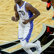 ORLANDO, FL - APRIL 12: Mo Bamba #5 of the Orlando Magic runs the court against the San Antonio Spurs at Amway Center on April 12, 2021 in Orlando, Florida. NOTE TO USER: User expressly acknowledges and agrees that, by downloading and or using this photograph, User is consenting to the terms and conditions of the Getty Images License Agreement. (Photo by Alex Menendez/Getty Images)*** Local Caption *** Mo Bamba