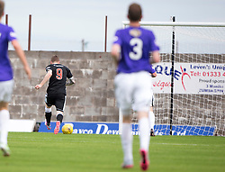 Elgin City's Craig Gunn scoring their goal. <br /> Half time : East Fife 1 v 1 Elgin City, Ladbrokes Scottish Football League Division Two game played 22/8/2015 at East Fife's home ground, Bayview Stadium.
