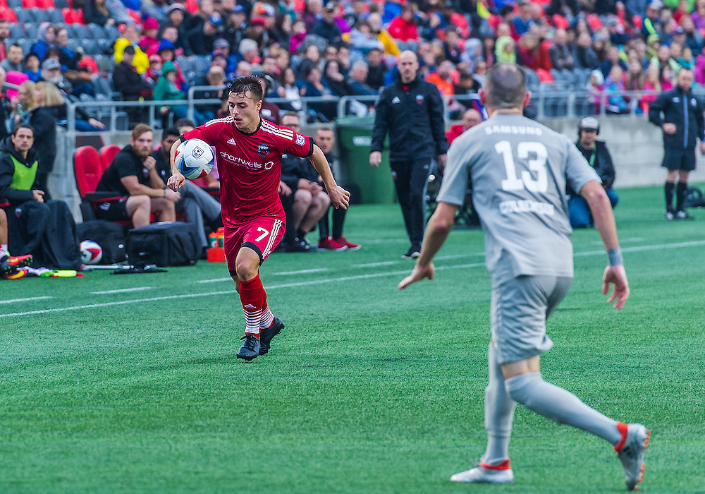 Ottawa Fury FC midfielder Ryan Williams (#7) during the NASL match between the Ottawa Fury FC and Puerto Rico FC at TD Place Stadium in Ottawa, ON. Canada on Oct. 2, 2016.<br /> <br /> PHOTO: Steve Kingsman/Freestyle Photography