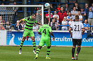 Forest Green Rovers Aarran Racine (21) heads clear during the Vanarama National League match between Dover Athletic and Forest Green Rovers at Crabble Athletic Ground, Dover, United Kingdom on 10 September 2016. Photo by Shane Healey.