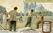 Laying paving slabs in a Paris street.  In the background is the cathedral of Notre Dame. Workmen are using crowbars to lever the slabs into place.  Liebig trade card c1900. Chromolithograph