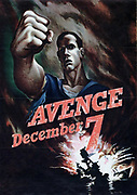 AVENGE December 7' : Poster of American sailor with clenched fist vowing to punish Japan for the attack on the American fleet in Pearl Harbour, 1941. Second World War.