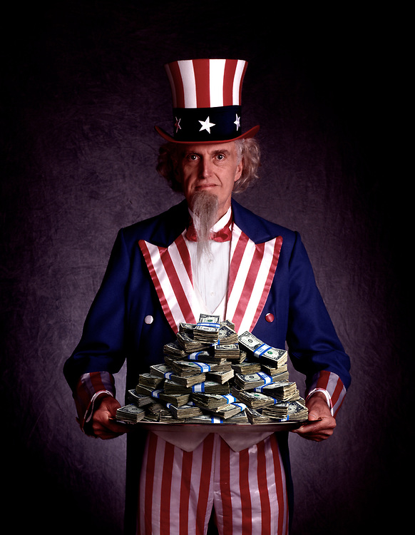 Uncle Sam with platter full of money