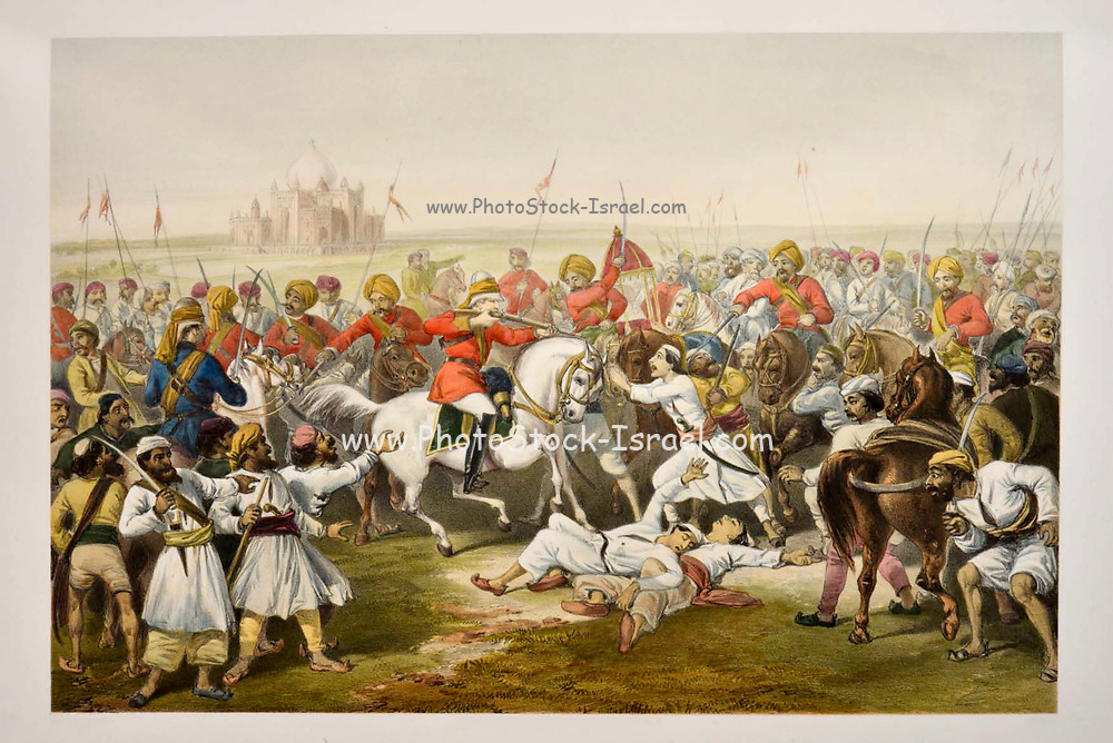 Capture and Death of the Shahzadahs [Bahadur Shah II, the Mughal king of Delhi (also referred to as emperor of India)] By William Stephen Raikes Hodson. Lithograph from the book Campaign in India 1857-58 Illustrating the military operations before Delhi ; 26 Hand coloured Lithographed plates. by George Francklin Atkinson Published by Day & Son Lithographers to the Queen in 1859