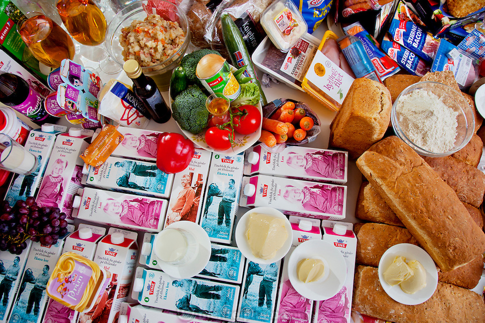 Ottersland Dahl family, of Gjettum, Norway (outside Oslo). Part of the table of groceries of a typical week's worth of food for the family.