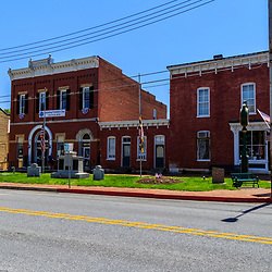 Sharpsburg, MD, USA - May 24, 2018: The Town Hall and Library in Sharpsburg, a quaint and historic town, known for its proximity to Antietam, the site of a major battle in the American Civil War.