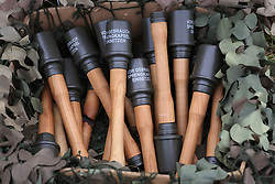 © Licensed to London News Pictures. 27/04/2018. Denmead, UK. Replica hand grenades wait to be used at the Overlord Military Spectacular, a gathering of military re-enactors. The event, 1st held in 1977, is organised by The Solent Overlord Military Collectors Club and features some 200 military vehicles and 500 re-enactors dressed in authentic uniforms and equipment from the era.   Photo credit: Julian Herbert/LNP