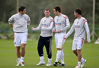 Photo: Paul Thomas.<br /> England Training. 06/10/2006.<br /> <br /> Frank Lampard, Wayne Rooney, John Terry and Wayne Bridge.