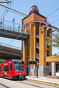 Red Trolley Arriving at Grossmont Trolley Station San Diego