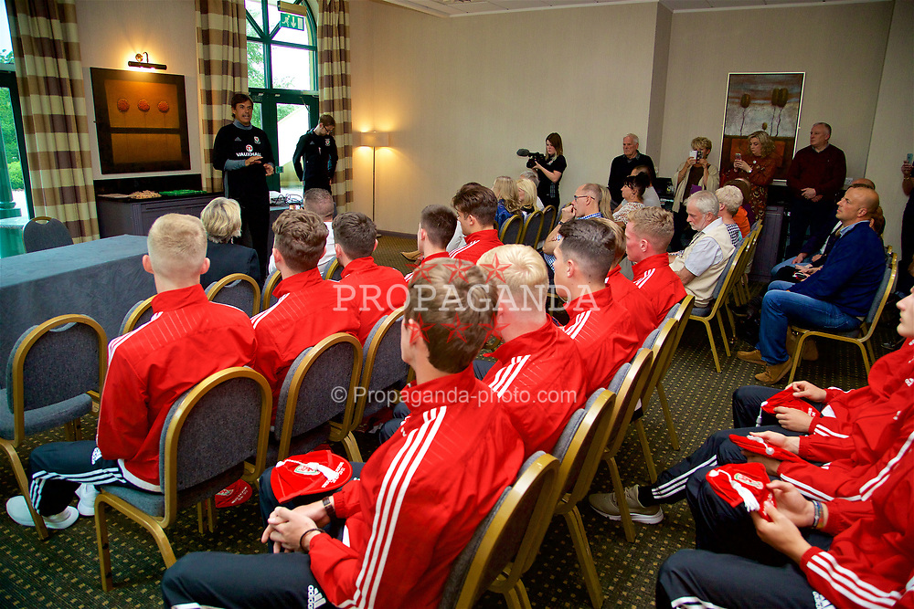 CARDIFF, WALES - Tuesday, June 6, 2017: Wales senior team manager Chris Coleman speaks to the players during a presentation at the Vale Resort. (Pic by David Rawcliffe/Propaganda)