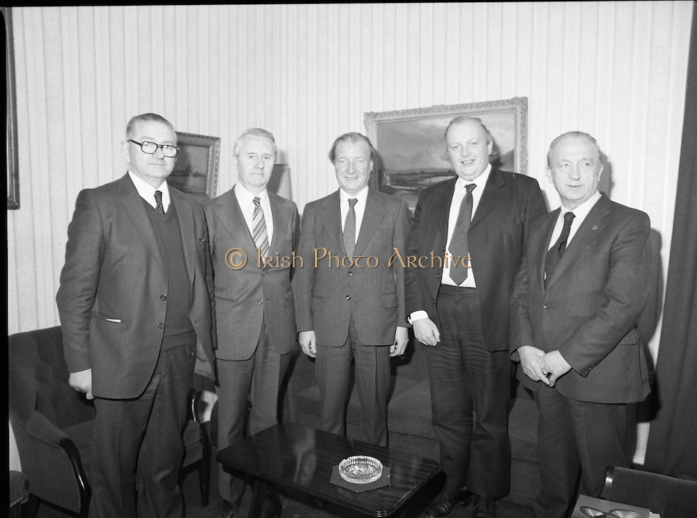 Taoiseach Meets I.C.T.U. Delegation.   (N71)..1981..23.04.1981..04.23.1981..23rd April 1981..An Taoiseach, Charles Haughey TD,received representatives of the Irish Congress of Trades Unions at Government Buildings, Dublin. They attended to discuss the the tour to South Africa by The Irish Rugby Football Union. Protests were starting across the country against the tour on the basis that it was felt that by going the Rugby team would be seen giving credence to apartheid. The union leaders were voicing the concerns of their members...Image shows An Taoiseach, Charles Haughey  TD , meeting with the delegation from ICTC, Mr Paddy Cardiff,General Secretary, Federated Workers Union of Ireland; Mr Donal Nevin,General Secretary (designate),ICTU; Mr Michael Mullins, General Secretary,, Irish Transport and General Workers Union and Mr Dan Murphy, President ICTU.