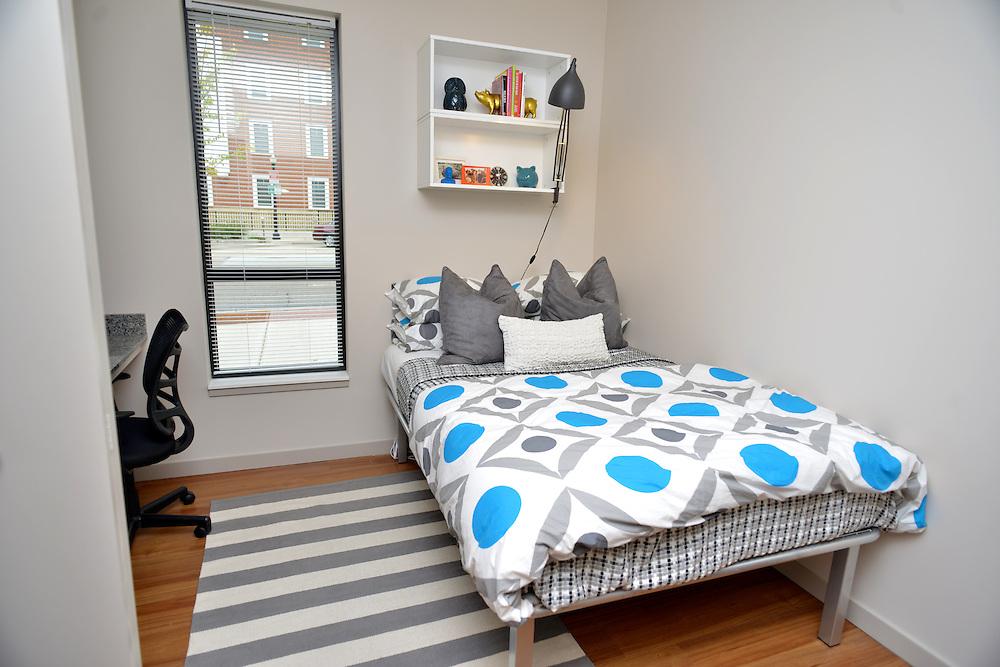 Bedroom of a model apartment at the 401 Lofts apartments.
