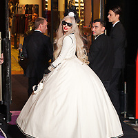 Lady GaGa ribbon cutting a Barneys New York offical opening moment of GaGa's Workshop at Barneys 60th street in New York City on November 21, 2011.