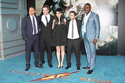 @ London News PIctures. Charlie Hunnam; Robert Kazinsky; Rinko Kikuchi; Charlie Day; Idris Elba at  Pacific Rim European Film Premiere, BFI IMAX Waterloo, London UK, 04 July 2013. Photo by Richard Goldschmidt/LNP