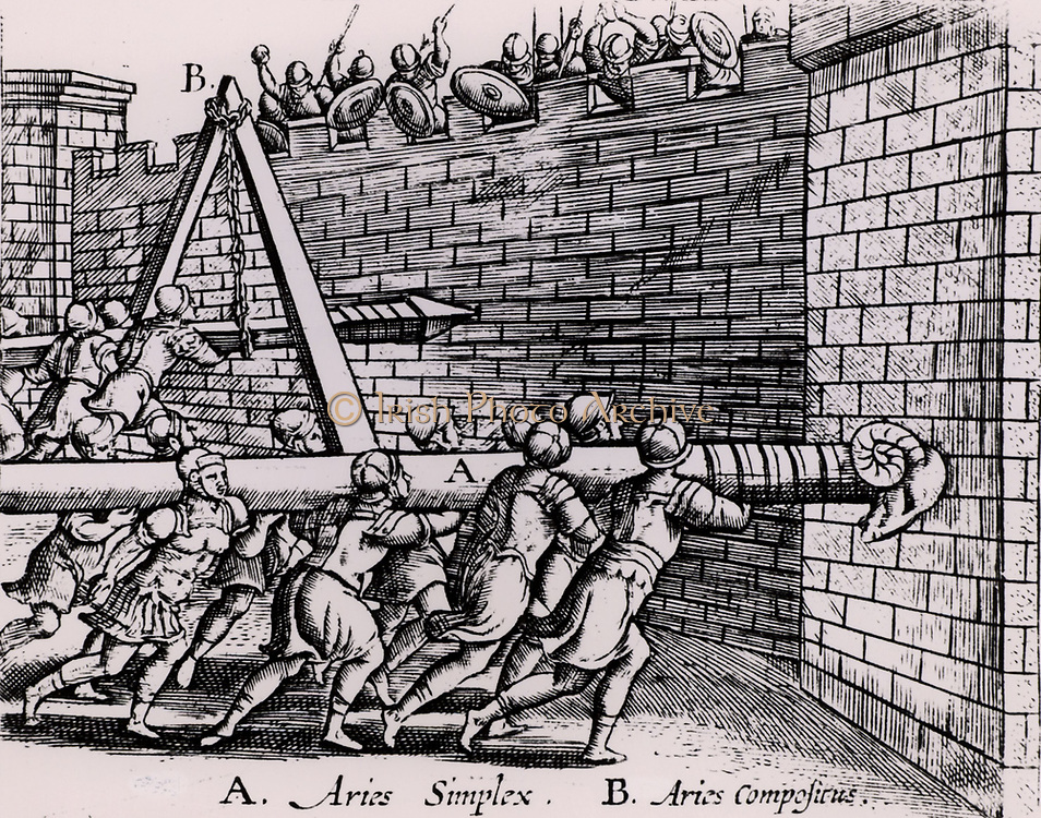 Roman soldiers using two forms of battering ram against the walls of a fortress.  A, in the foreground, is the simple form resting on the men's shoulders, while the one at B is hung on a chain hanging from a frame, so enabling the men to concentrate their strength on thrusting the battering ram forward.  From 'Poliorceticon sive de machinis tormentis telis' by Justus Lipsius (Joost Lips) (Antwerp, 1605). Engraving.