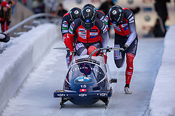 19.01.2020, Olympia Eiskanal, Innsbruck, AUT, BMW IBSF Weltcup Bob und Skeleton, Igls, Bob Viersitzer, Herren, im Bild Pilot Michael Vogt mit Silvo Weber, Oliver Gyger, Sandro Michel (SUI) // Pilot Michael Vogt with Silvo Weber Oliver Gyger Sandro Michel of Switzerland during the four-man Bobsleigh competition of BMW IBSF World Cup at the Olympia Eiskanal in Innsbruck, Austria on 2020/01/19. EXPA Pictures © 2020, PhotoCredit: EXPA/ Peter Rinderer