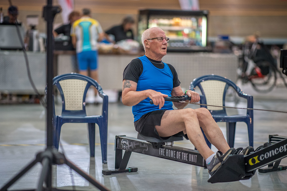 George Venemore MALE HEAVYWEIGHT Masters L 2K Race #2  08:45am<br /> <br /> www.rowingcelebration.com Competing on Concept 2 ergometers at the 2018 NZ Indoor Rowing Championships. Avanti Drome, Cambridge,  Saturday 24 November 2018 © Copyright photo Steve McArthur / @RowingCelebration
