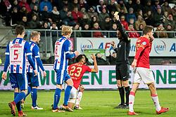 (L-R) Ricardo van Rhijn of AZ, referee Pol van Boekel during the Dutch Eredivisie match between AZ Alkmaar and sc Heerenveen at AFAS stadium on December 23, 2017 in Alkmaar, The Netherlands