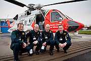Crew members Robert Goodbody,Ciaran McHUgh,Jim O'Neill and Cathal Oaks in front of the new Coast Guard Sikorsky S-92 helicopter which arrived at Shannon airport today. Photograph by Eamon Ward (Pat Flynn has sent story)