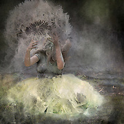 As the fairy tosses the dandelion the pollen dust covers her and the space around her too.