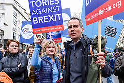 "© Licensed to London News Pictures. 23/03/2019. LONDON, UK. Justine Greening (C), MP for Putney, takes part in the march. Thousands of people take part in the ""Put It To The People March"", marching from Park Lane to Parliament Square on what was supposed to be six days before the UK was due to leave the EU, before an extension to the departure date was given.  Protesters demand that the public is given a final say on Brexit as support for the Prime Minister's withdrawal plan continues to recede.  Photo credit: Stephen Chung/LNP"