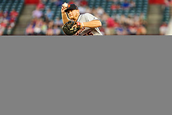 May 7, 2018 - Arlington, TX, U.S. - ARLINGTON, TX - MAY 07: Detroit Tigers first baseman John Hicks (55) fields the baseball and makes a throw to first base during the game between the Texas Rangers and the Detroit Tigers on May 07, 2018 at Globe Life Park in Arlington, Texas. Texas defeats Detroit 7-6. (Photo by Matthew Pearce/Icon Sportswire) (Credit Image: © Matthew Pearce/Icon SMI via ZUMA Press)