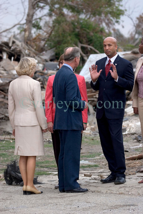 04 November, 2005. New Orleans, Louisiana. Post Katrina. <br /> Mayor Ray Nagin with Charles and Camilla as they visit the lower 9th ward in New Orleans, devastated by hurricane Katrina when a barge broke through the levee flooding the area. <br /> Photo; Charlie Varley/varleypix.com