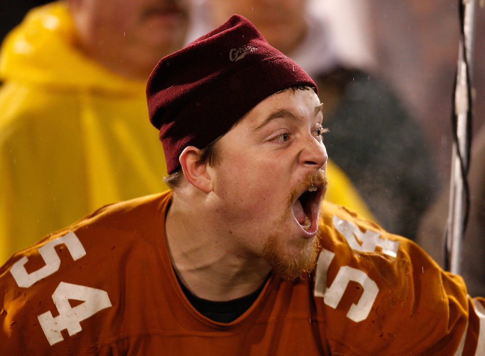CHATTANOOGA, TN - DECEMBER 18:  A Montana fan yells towards the field during the NCAA FCS Championship game between the Villanova Wildcats and the Montana Grizzlies at Finley Stadium on December 18, 2009 in Chattanooga, Tennessee.  The Wildcats beat the Grizzlies 23-21.  (Photo by Mike Zarrilli/Getty Images)