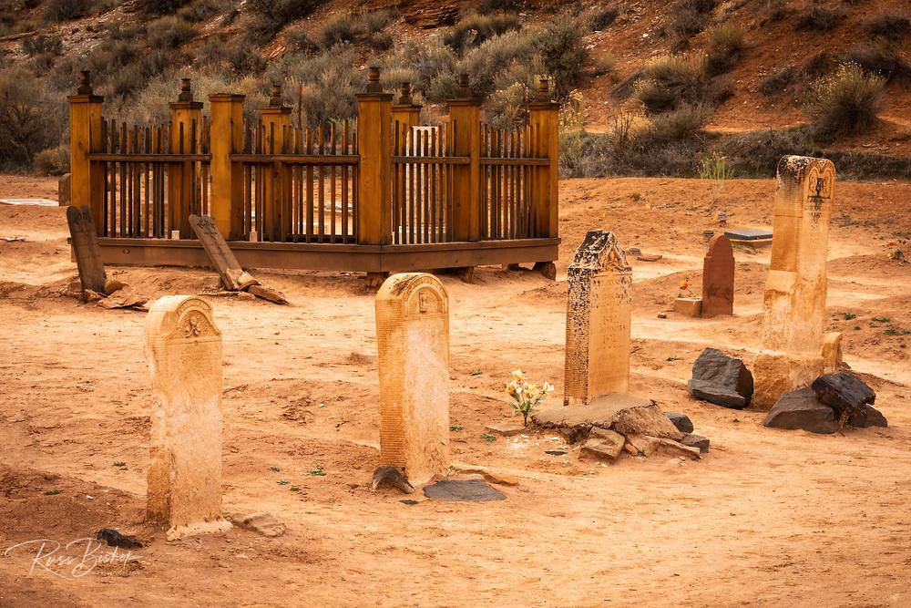 Tombstones in the Grafton Cemetery, Grafton ghost town, Utah USA