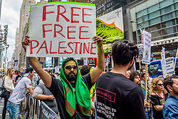 June 23, 2017 - New York, New York, United States - International Day of Quds, people of conscience gathered in Times Square to express solidarity with all the oppressed human beings of the world and particularly the innocent civilians of Palestine who are victimized by the oppressive and racist Zionist regime. (Credit Image: © Erik Mcgregor/Pacific Press via ZUMA Wire)